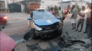 Driver Wounded As Security Car Collides With Another Vehicle In Lagos. Photos